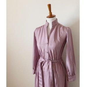 Vintage Mandarin Collar Tie Waist Dress